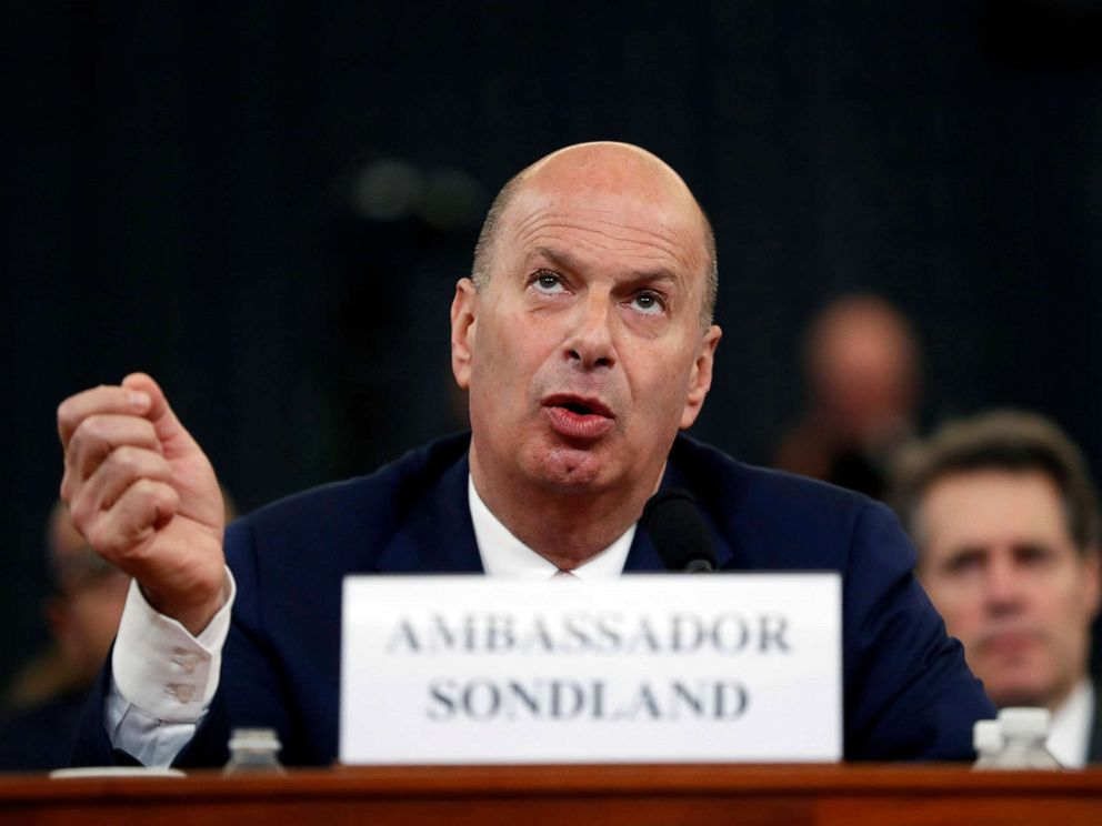 PHOTO: U.S. Ambassador to the European Union Gordon Sondland testifies before the House Intelligence Committee on Capitol Hill in Washington, D.C., Nov. 20, 2019, during a public impeachment hearing.