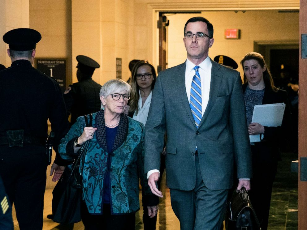 PHOTO: Tim Morrison, a former National Security Council official arrives to testify before the House Intelligence Committee on Capitol Hill, November 19, 2019.