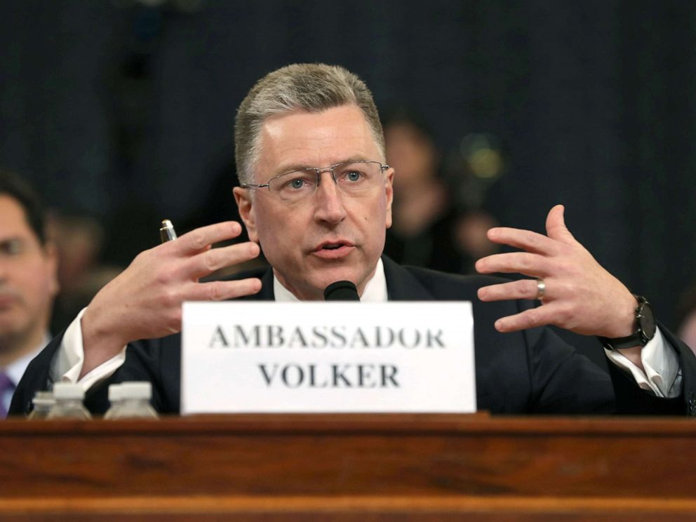 PHOTO: Former State Department special envoy to Ukraine Kurt Volker testifies before the House Intelligence Committee on Capitol Hill, Nov. 19, 2019.