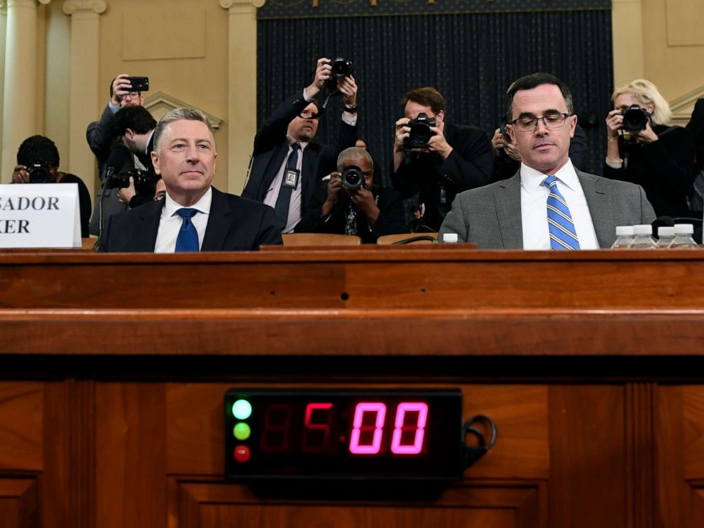 PHOTO: Ambassador Kurt Volker, former special envoy to Ukraine, left, and Tim Morrison, a former official at the National Security Council, arrive to testify before the House Intelligence Committee on Capitol Hill, Nov. 19, 2019.