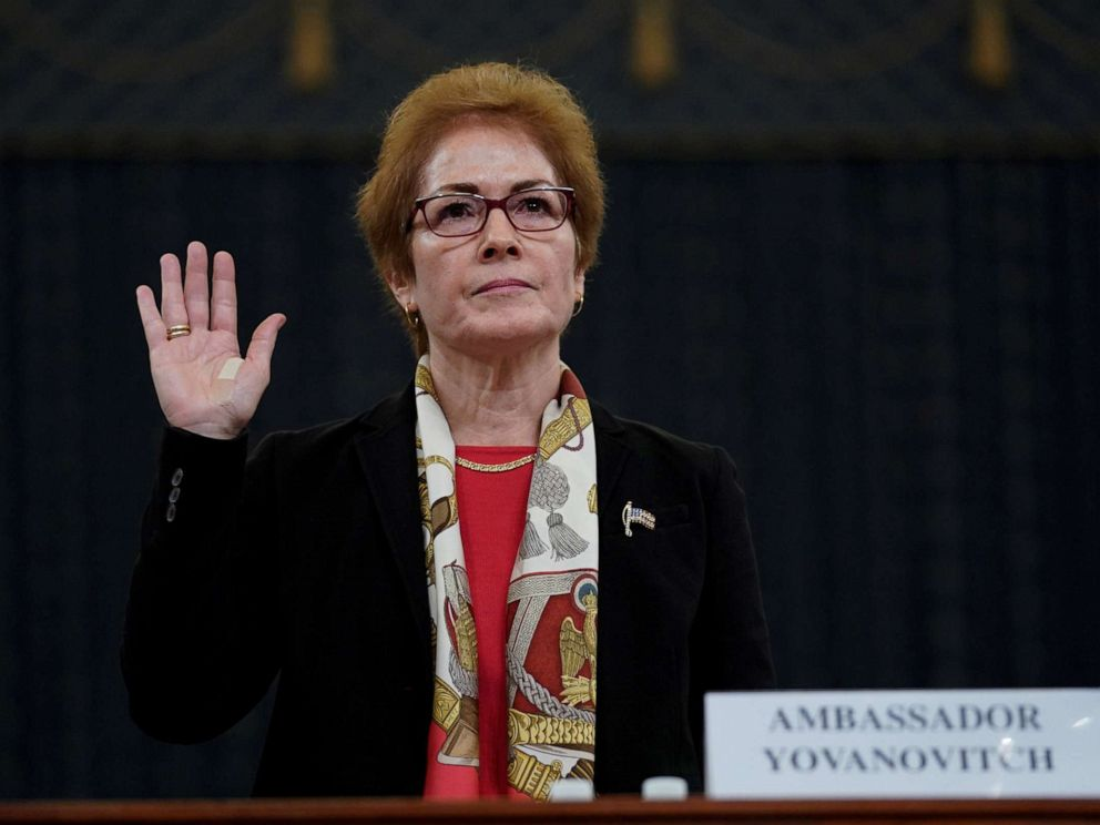 PHOTO: Marie Yovanovitch, former U.S. ambassador to Ukraine, is sworn in to testify before a House Intelligence Committee hearing as part of the impeachment inquiry into President Donald Trump on Capitol Hill in Washington, D.C., Nov. 15, 2019.