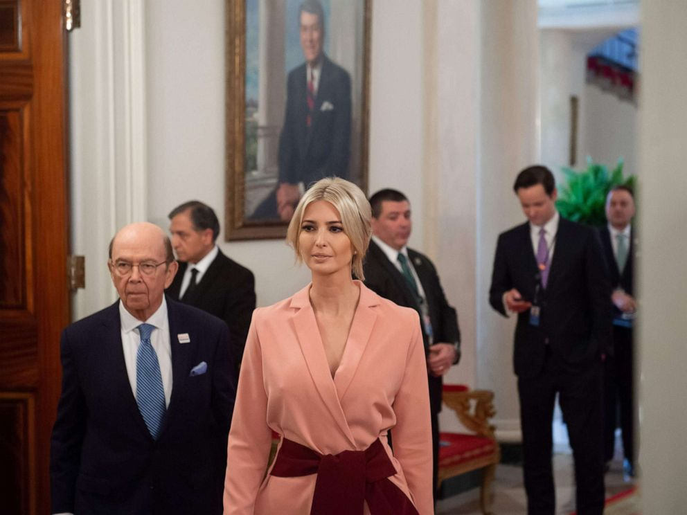 PHOTO: Senior White House adviser Ivanka Trump arrives for the first meeting of the American Workforce Policy Advisory Board at the White House, March 6, 2019.