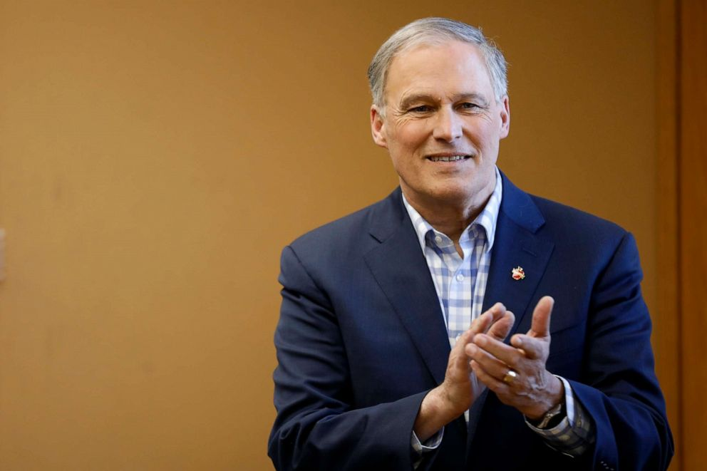 PHOTO: 2020 Democratic presidential candidate Washington Gov. Jay Inslee waits to speak at a round table discussion about climate change, March 5, 2019, at Iowa State University in Ames, Iowa.