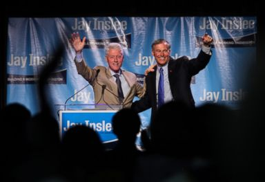 Former President Bill Clinton and gubernatorial candidate Jay Inslee speak at a fundraiser, Sept. 15, 2012, at the Washington State Convention Center in Seattle. PHOTO: