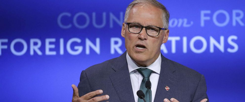 PHOTO: Wash. Governor Jay Inslee speaks about climate change at the Council on Foreign Relations, June 5, 2019, in New York.