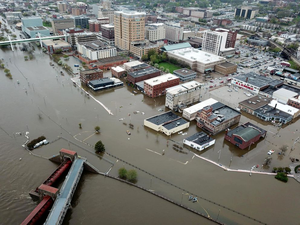 PHOTO: An aerial view of flooding in Davenport, Iowa, April 30, 2019.