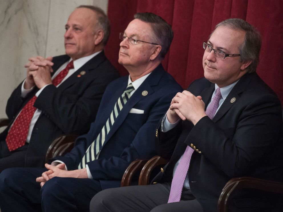 PHOTO: Republican Reps. Steve King, Rod Blum and David Young of Iowa attend a rally for Iowans in Russell Building prior to the anti-abortion March for Life on the Mall in Washington on Jan. 19, 2018.