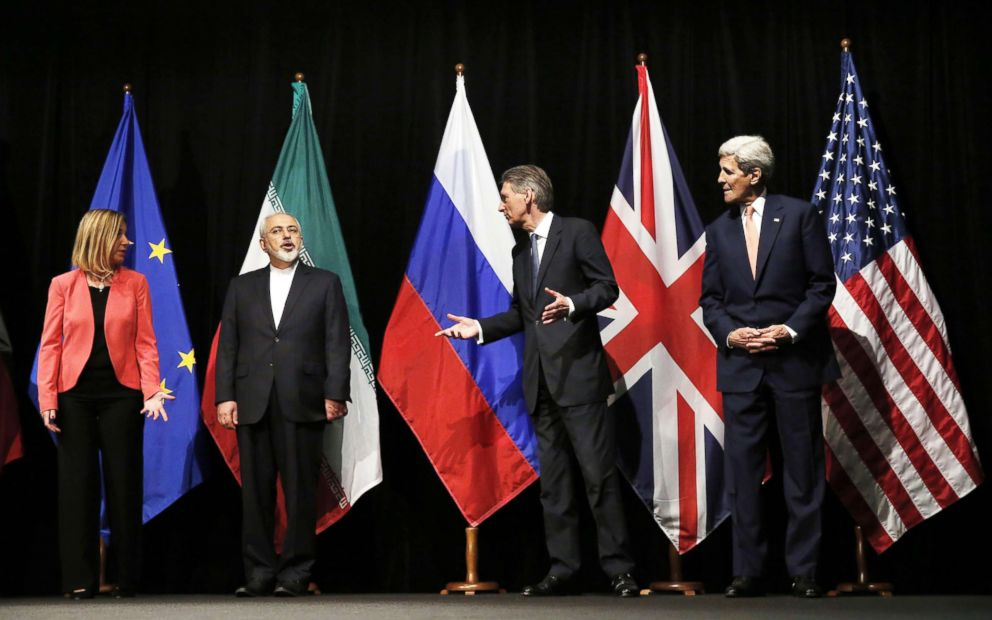 PHOTO:British Foreign Secretary Philip Hammond, Secretary of State John Kerry and European Union High Representative for Foreign Affairs and Security Policy Federica Mogherini talk to Iranian Foreign Minister Mohammad Javad Zarif in Vienna, July 14, 2015.