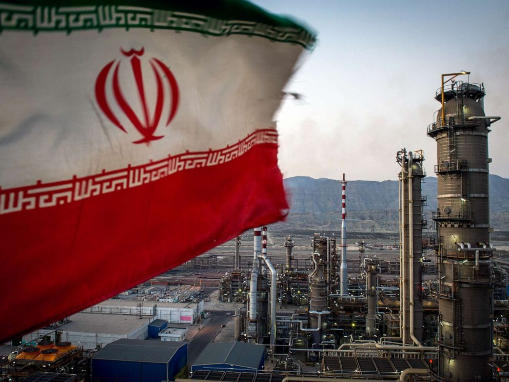 PHOTO: An Iranian national flag flies at the Persian Gulf Star Co. gas condensate refinery in Bandar Abbas, Iran, Jan. 9. 2019.