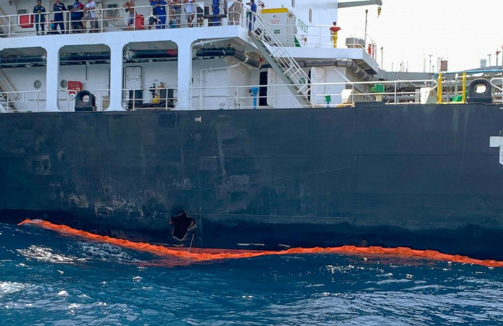 PHOTO: The damage to the Japanese oil tanker Kokuka Courageous from a limpet mine attack in the Gulf of Oman can be seen as the ship sails off the coast the United Arab Emirates, June 19, 2019.