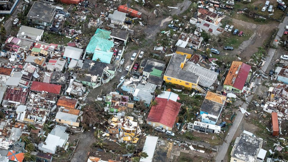 A view of the aftermath of Hurricane Irma on Sint Maarten Dutch part of Saint Martin island in the Caribbean, Sept. 6, 2017.