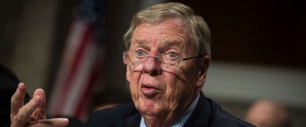 PHOTO: Sen. Johnny Isakson, R-Ga., speaks during a hearing of Veterans Affairs secretary nominee Robert Wilkie in front of the Senate Veterans Affairs Committee at the Capitol, June 27, 2018.