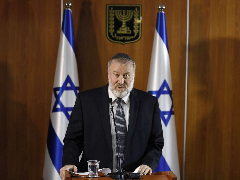 PHOTO: Israels attorney general, Avichai Mandelblit gives a press conference at the justice ministry in Jerusalem on Nov. 21, 2019. Mandelblit indicted Benjamin Netanyahu on a range of corruption charges.