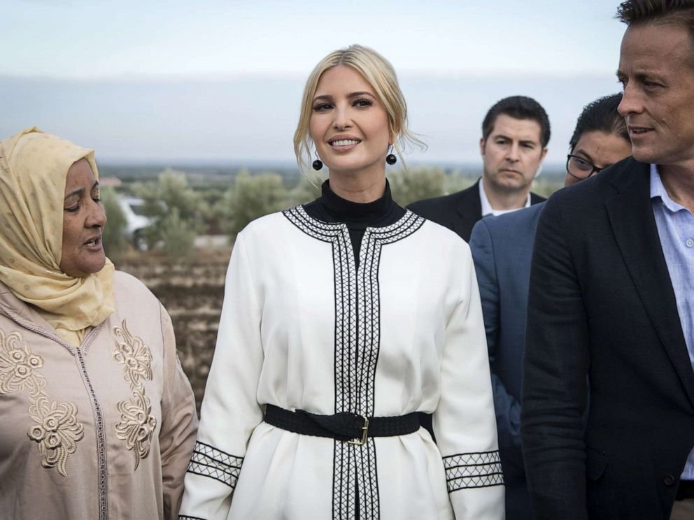 PHOTO: Ivanka Trump meets with local women farmers in the Moroccan city of Sidi Kacem on November 7, 2019.