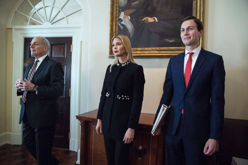 From left, White House Chief of Staff John Kelly, Ivanka Trump and Jared Kushner attend a meeting with President Donald J. Trump and members of his Cabinet, in the Cabinet Room of the White House, March 8, 2018.