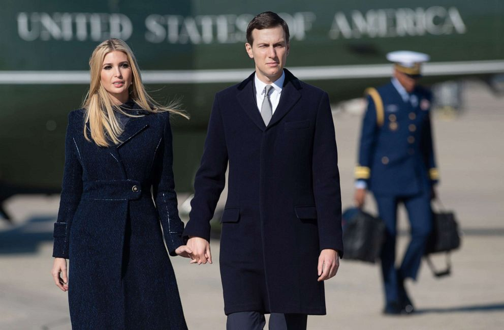 White House senior advisors Ivanka Trump and Jared Kushner, walk to Air Force One at Joint Base Andrews in Maryland, Oct. 30, 2018.