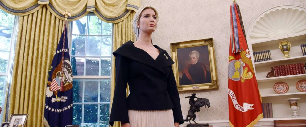 PHOTO: White House adviser Ivanka Trump listens during a meeting between President Donald Trump and Nikki Haley, the United States Ambassador to the United Nations in the Oval office, Oct. 9, 2018, in Washington, DC.