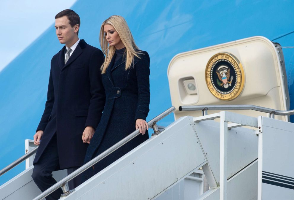 Ivanka Trump and Jared Kushner disembark from from Air Force One upon arrival at Pittsburgh International Airport in Pittsburgh, Oct. 30, 2018.