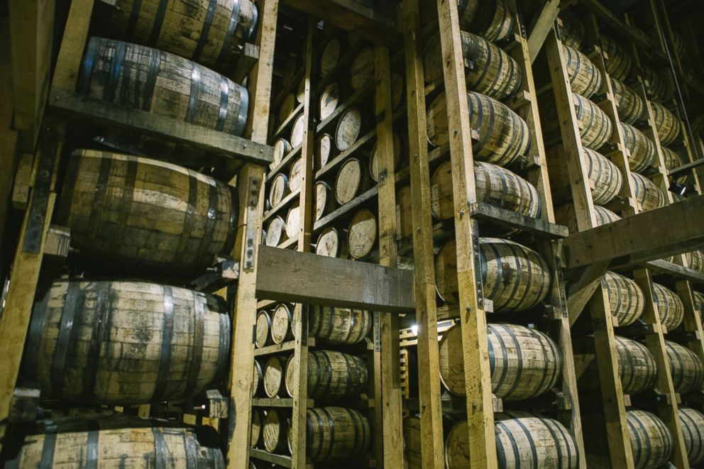 PHOTO: Barrels of the whiskey producer Jack Daniels stacked in one of the barrel houses on Feb. 23, 2018 in Lynchburg, Tenn.