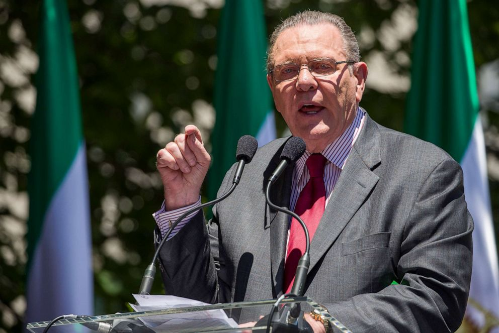 PHOTO: Former Vice Chief of Staff of the U.S. Army Gen. Jack Keane, speaks to activists gathered at the State Department before a march to the White House to call for regime change in Iran, June 21, 2019, in Washington, D.C.