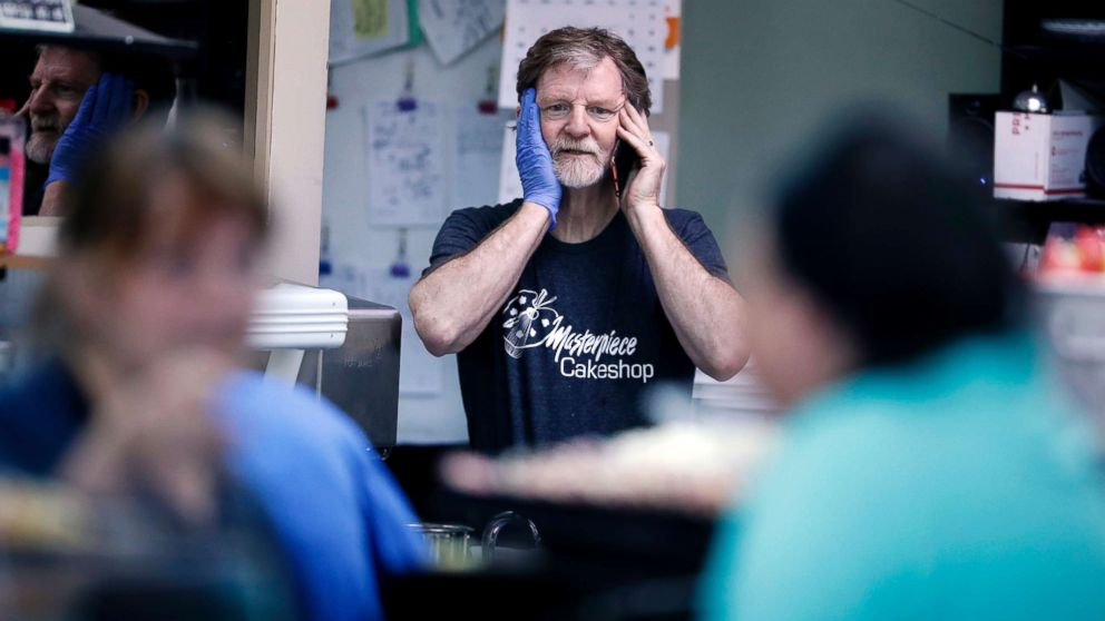 Baker Jack Phillips, owner of Masterpiece Cakeshop, June 4, 2018, in Lakewood, Colo., after the U.S. Supreme Court ruled that he could refuse to make a wedding cake for a same-sex couple because his religious beliefs did not violate Colorado's anti-discrimination law.
