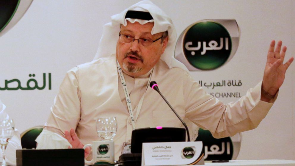 In this Dec. 15, 2014 file photo, Jamal Khashoggi, then general manager of a new Arabic news channel speaks during a press conference, in Manama, Bahrain.