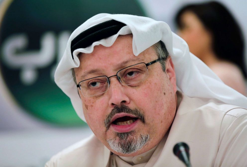 PHOTO: Saudi journalist Jamal Khashoggi speaks in Manama, Bahrain, Feb. 1, 2015.