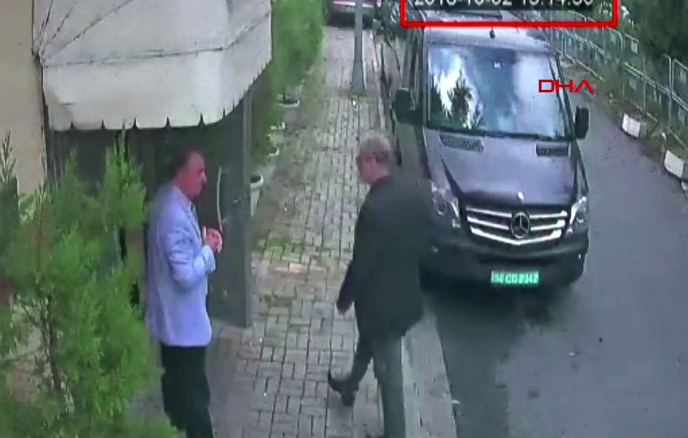 PHOTO: This video grab made on Oct. 10, 2018, from CCTV footage obtained from Turkish news agency DHA, shows Saudi journalist Jamal Khashoggi, right, arriving at the Saudi Arabian consulate in Istanbul on Oct. 2, 2018.