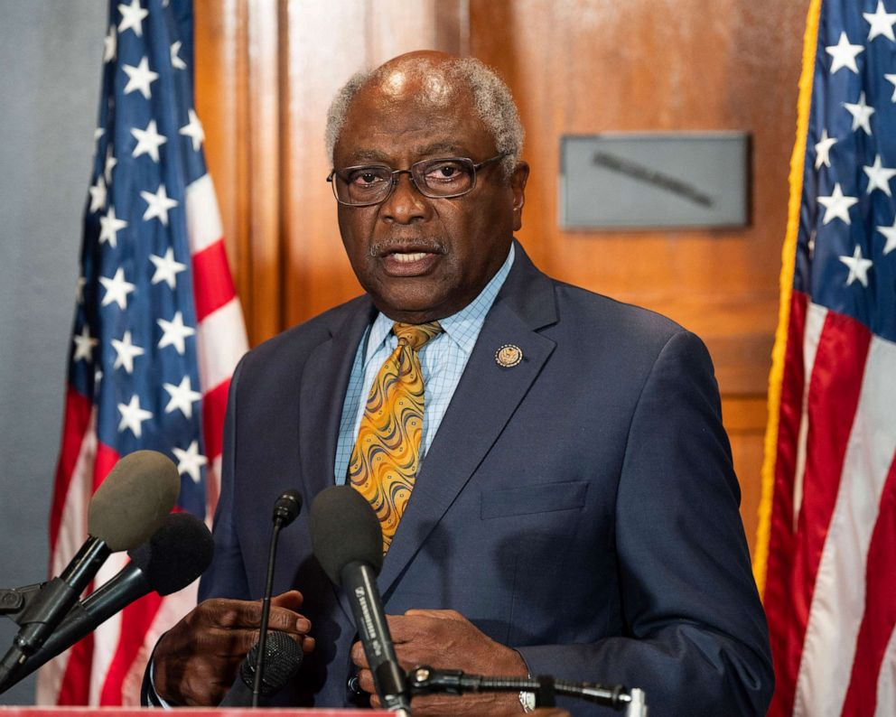 PHOTO: In this July 23, 2019, file photo, Representative Jim Clyburn speaks at a press conference for the introduction of a bill to cancel student loan debt held at the Capitol in Washington, DC.
