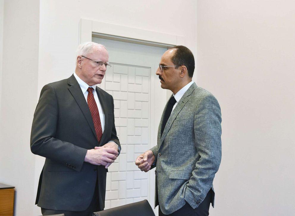 PHOTO: Turkish Presidential Spokesman Ibrahim Kalin (R) meets U.S. Special Representative for Syria James Jeffrey (L) in Ankara, Turkey on July 24, 2019.