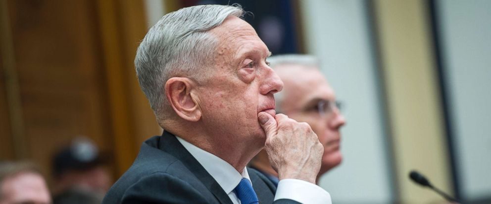"PHOTO: Defense Secretary James Mattis testifies during a House Armed Services Committee hearing in Rayburn Building titled ""The National Defense Strategy and the Nuclear Posture Review,"" Feb. 6, 2018."