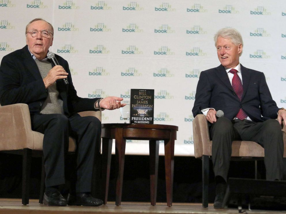 PHOTO: James Patterson and Bill Clinton talk about their new Book The President is Missing at Bookcon in New York City, June 4, 2018.