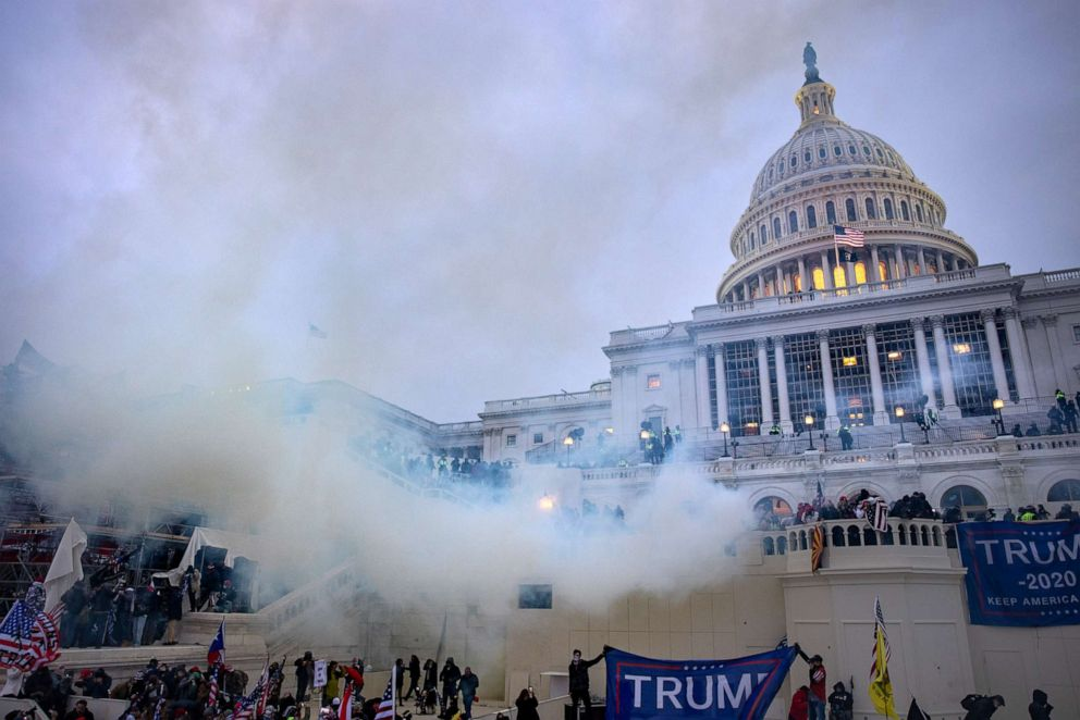 PHOTO: Tear gas is fired at supporters of President Trump who stormed the United States Capitol building, Jan. 6, 2021.
