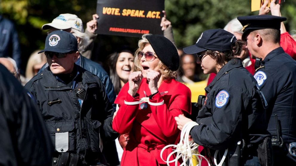 Jane Fonda marches on Capitol Hill in finale 'Fire Drill Friday' protest