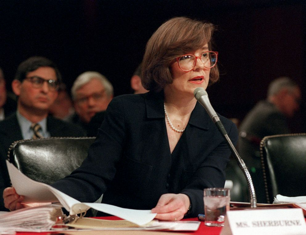 PHOTO: White House counsel Jane Sherburne testifies on Capitol Hill, Feb. 8, 1996, before the Senate Whitewater Committee.