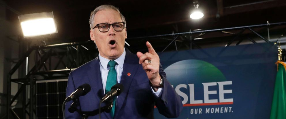PHOTO: Washington Governor, Jay Inslee, speaks during a campaign event at in Seattle, March 1, 2019.