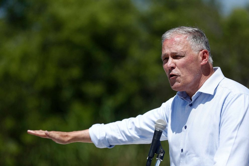PHOTO: Democratic presidential candidate Washington Gov. Jay Inslee speaks during a news conference at the Everglades Holiday Park, June 24, 2019, in Fort Lauderdale, Fla.