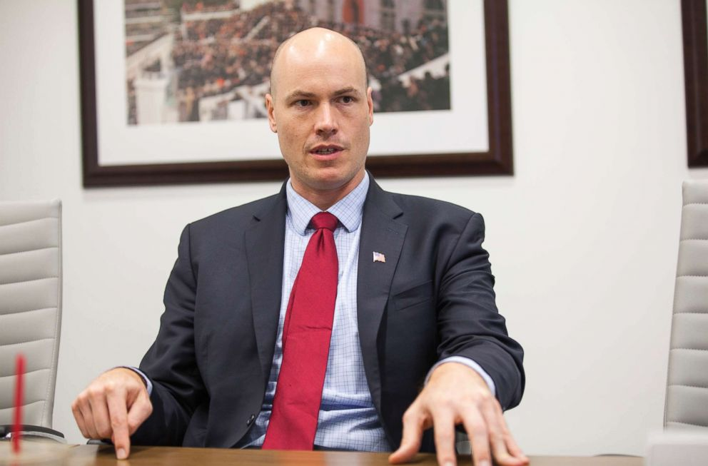 PHOTO: J.D. Scholten is interviewed by CQ Roll Call at their D.C. office, July 27, 2018.