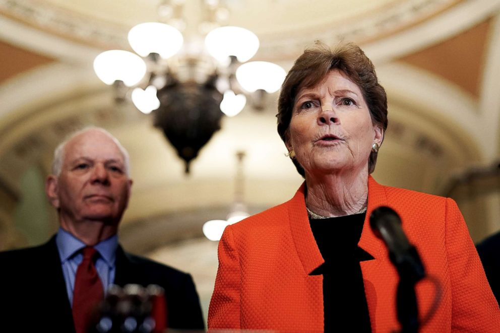 PHOTO: U.S. Sen. Jeanne Shaheen speaks as Sen. Ben Cardin (left) listens during a news briefing after a weekly policy luncheon on July 17, 2018 at the U.S. Capitol in Washington, D.C.