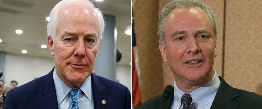 PHOTO: Pictured (L-R) are Sen. John Cornyn on Sept. 7, 2017 and Rep. Chris Van Hollen on Jan. 27, 2016, in Washington, D.C.