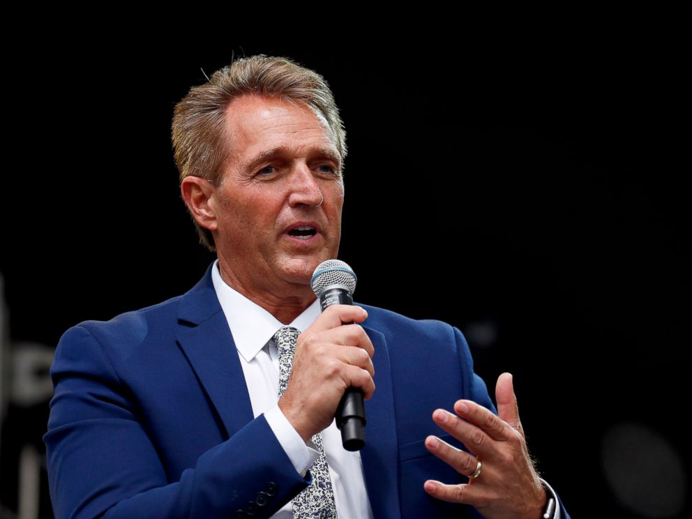 PHOTO: Sen. Jeff Flake speaks during an appearance at the Forbes 30 Under 30 Summit, Oct. 1, 2018, in Boston.