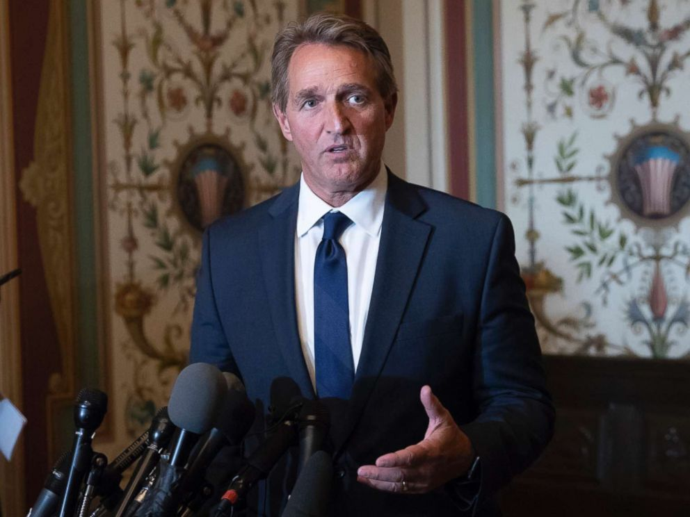 PHOTO: Sen. Jeff Flake speaks with reporters on Capitol Hill in Washington, D.C., June 13, 2018.