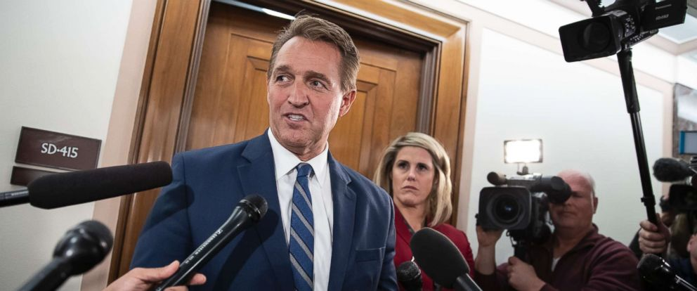 PHOTO: Sen. Jeff Flake speaks with reporters on Capitol Hill in Washington, Dec. 6, 2018.