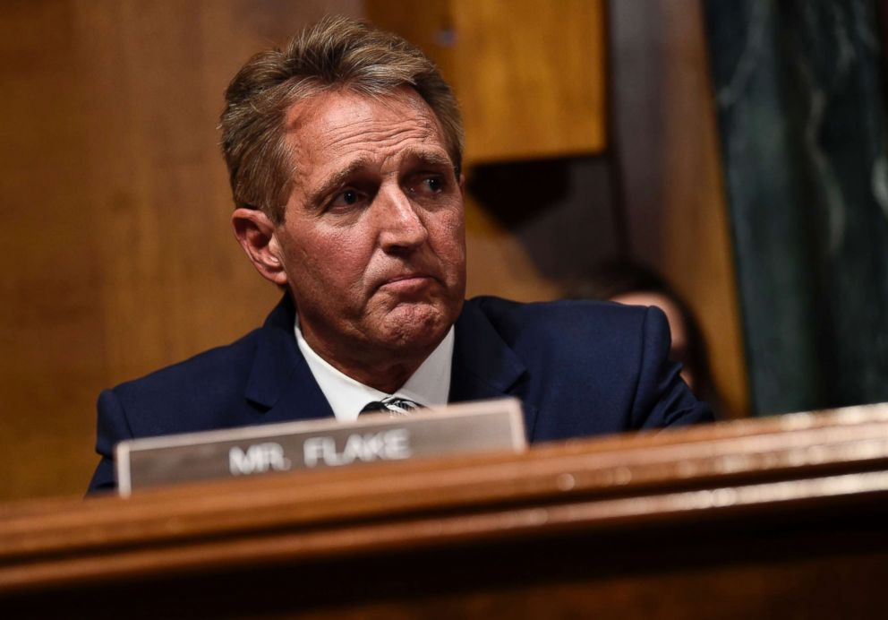 PHOTO: Senate Judiciary Committee member Republican Jeff Flake speaks during a hearing on Capitol Hill in Washington on Sept. 28, 2018, on the nomination of Brett Kavanaugh to be an associate justice of the Supreme Court of the United States.