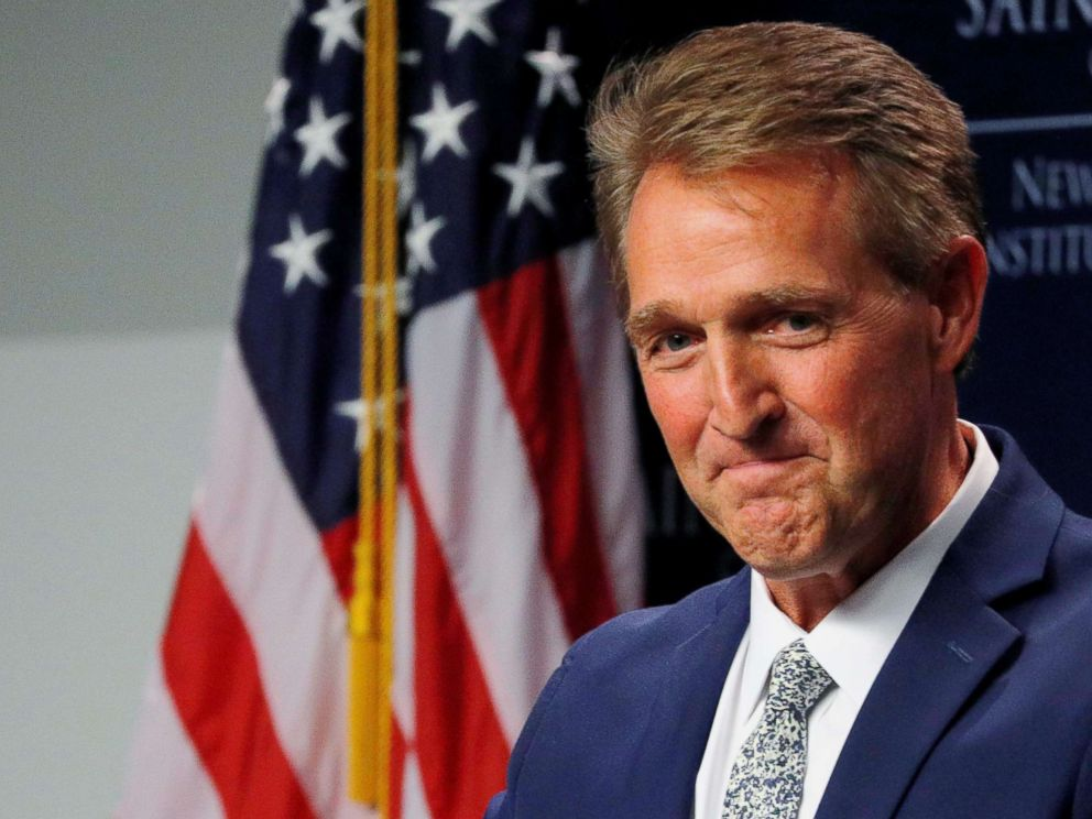 Brian Snyder  ReutersSen. Jeff Flake speaks at the Institute of Politics at Saint Anselm College in Manchester N.H. Oct. 1 2018