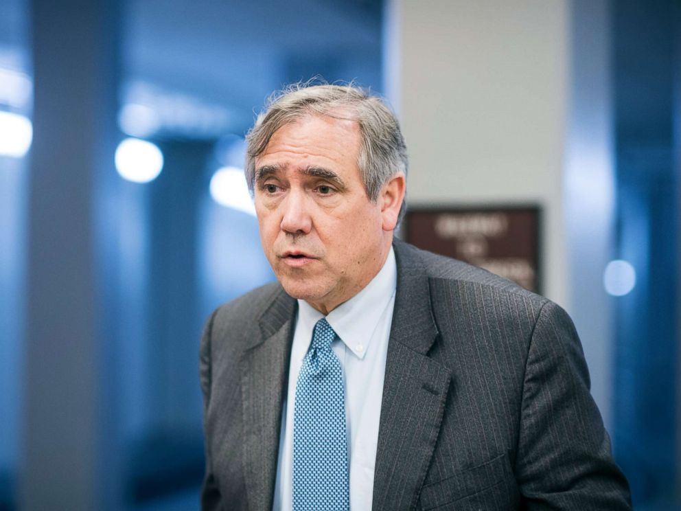 PHOTO: Sen. Jeff Merkley arrives in the Capitol for the Senate Democrats policy lunch, May 15, 2018, in Washington, DC.