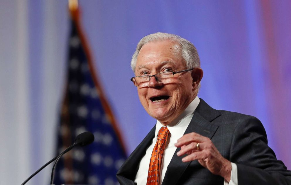 U.S. Attorney General Jeff Sessions speaks at the National Sheriffs' Association convention in New Orleans, June 18, 2018.