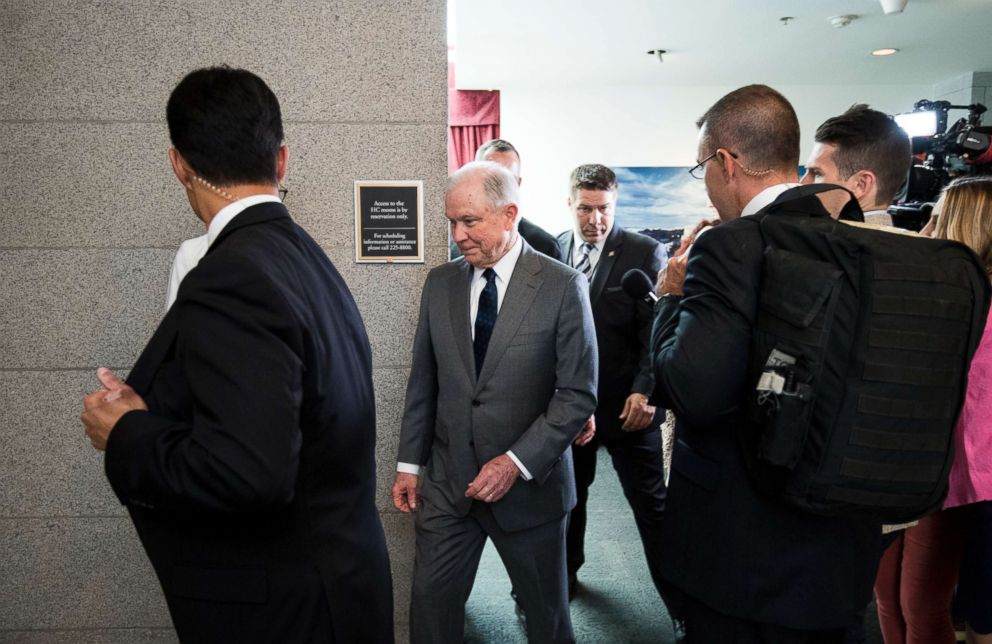 PHOTO: Attorney General Jeff Sessions leaves his meeting with members of the Republican Study Committee at the Capitol, June 20, 2018.