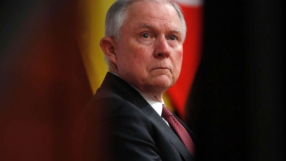 Attorney General Jeff Sessions pauses before speaking at the Global Forum on Asset Recovery (GFAR) at the International Finance Corporation in Washington, Dec. 4, 2017, about anti-corruption efforts of the Trump administration and other topics.