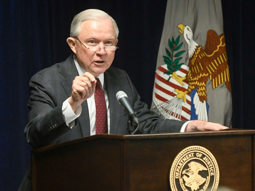 PHOTO: Attorney General Jeff Sessions delivers remarks on efforts to combat violent crime in America during an appearance at the United States Attorneys Office for the Middle District of Georgia, Aug. 9, 2018, in Macon, Ga.